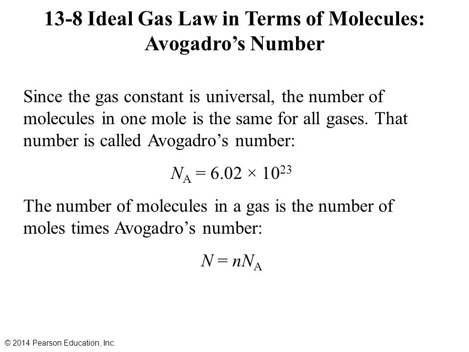 Since the gas constant is universal, the number of molecules in one mole is the same for all gases.