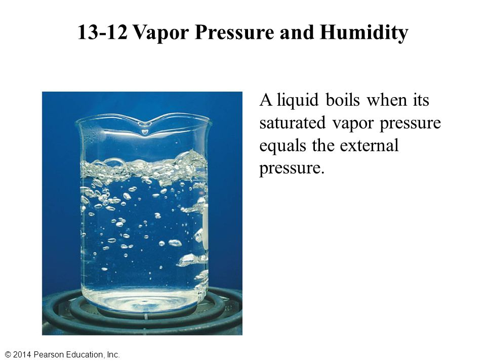 A liquid boils when its saturated vapor pressure equals the external pressure. 13-12 Vapor Pressure and Humidity © 2014 Pearson Education, Inc.