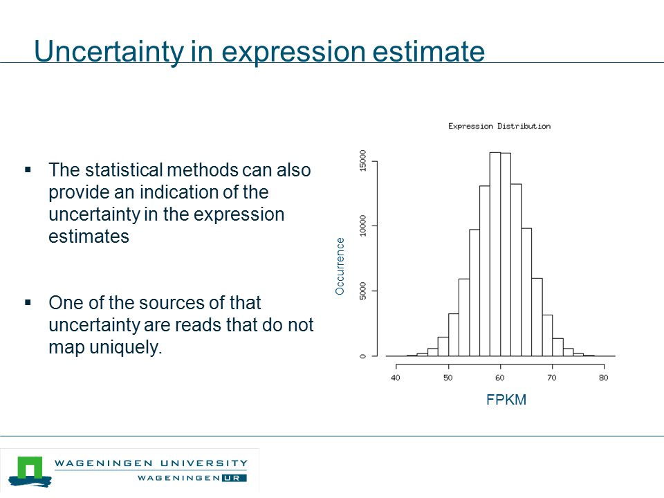 Uncertainty in expression estimate  The statistical methods can also provide an indication of the uncertainty in the expression estimates  One of th