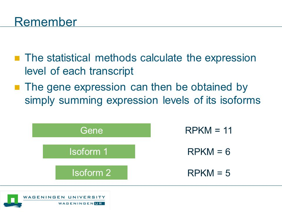 Remember The statistical methods calculate the expression level of each transcript The gene expression can then be obtained by simply summing expressi