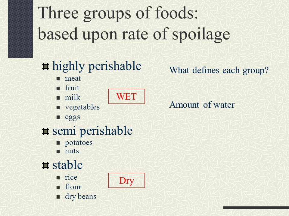 Three groups of foods: based upon rate of spoilage highly perishable meat fruit milk vegetables eggs semi perishable potatoes nuts stable rice flour dry beans What defines each group.