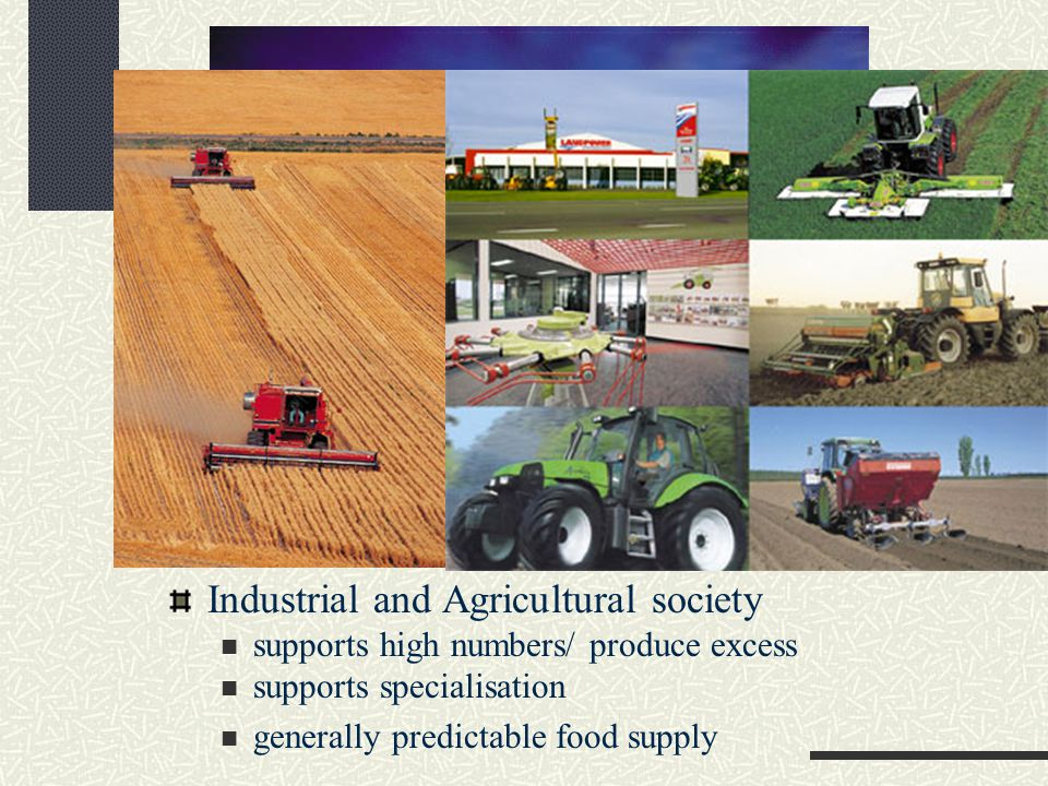Industrial and Agricultural society supports high numbers/ produce excess supports specialisation generally predictable food supply
