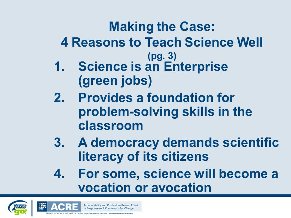 What is Ready, Set, SCIENCE! Taking Science to School In 2007, the National Research Council of the National Academies of Science released a report from the Board on Science Education (BOSE) Committee on Science Learning, Kindergarten through Eighth Grade Ready, Set SCIENCE.