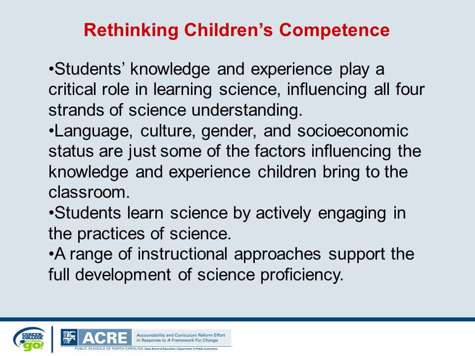Students' knowledge and experience play a critical role in learning science, influencing all four strands of science understanding.