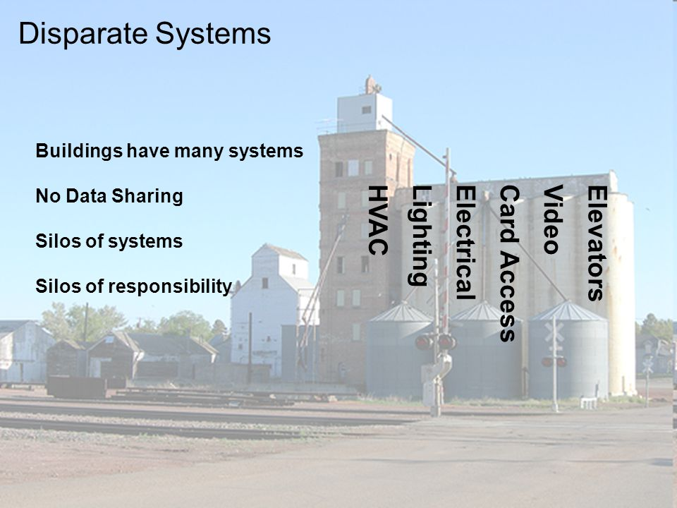 18 Lighting Electrical Card Access VideoElevators HVAC Buildings have many systems No Data Sharing Silos of systems Silos of responsibility Disparate Systems