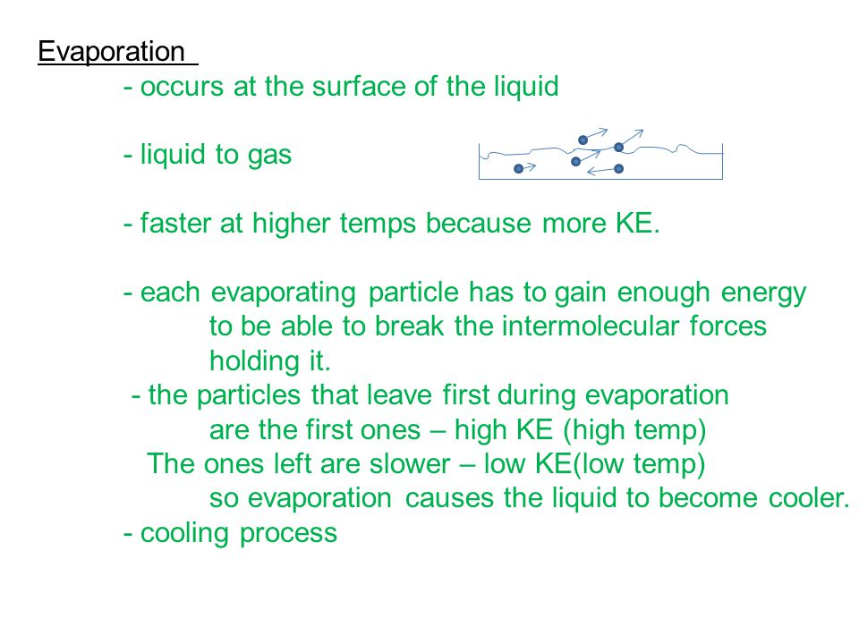 Evaporation - occurs at the surface of the liquid - liquid to gas - faster at higher temps because more KE. - each evaporating particle has to gain en