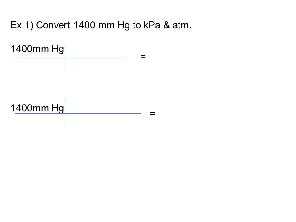 Ex 1) Convert 1400 mm Hg to kPa & atm. 1400mm Hg = =