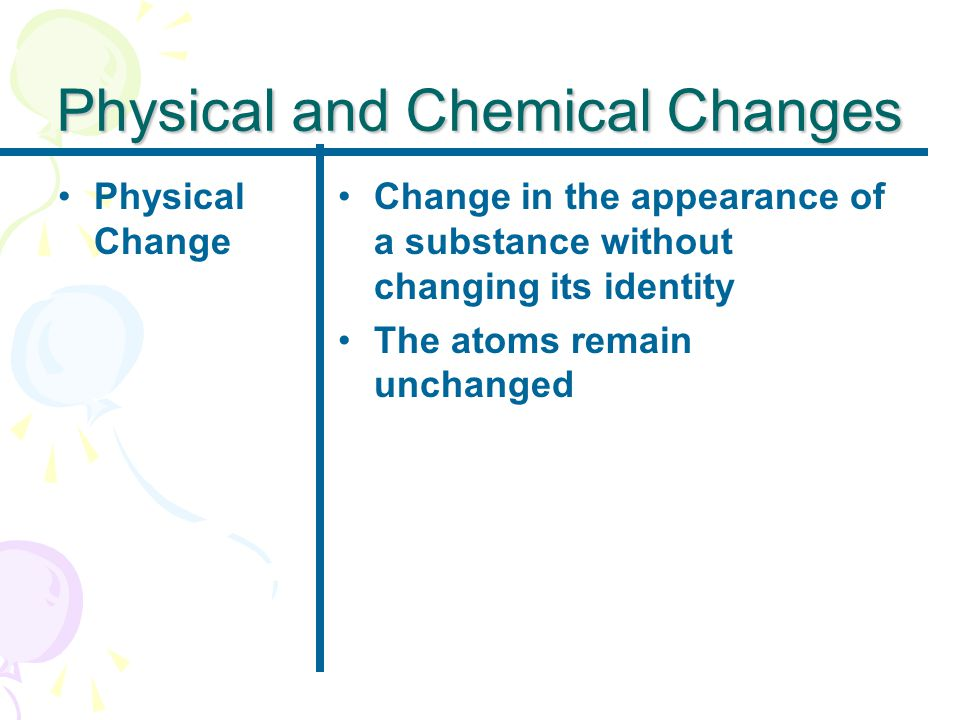 Physical and Chemical Changes Physical Change Change in the appearance of a substance without changing its identity The atoms remain unchanged