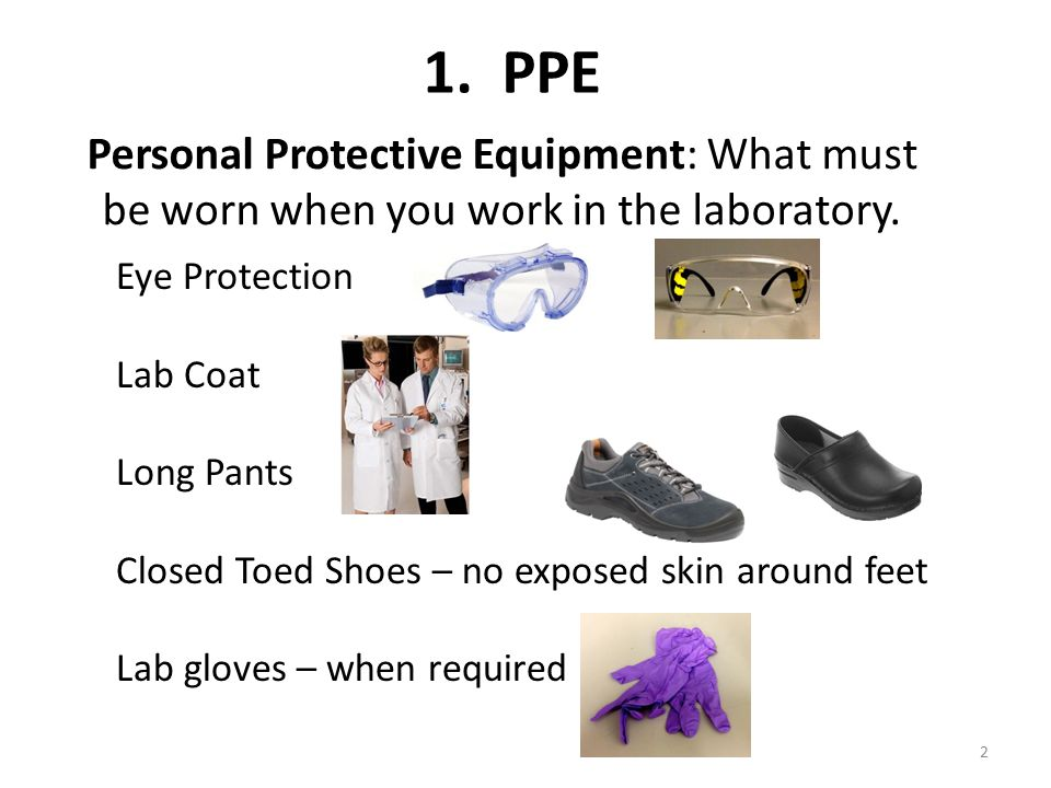 Personal Protective Equipment: What must be worn when you work in the laboratory.