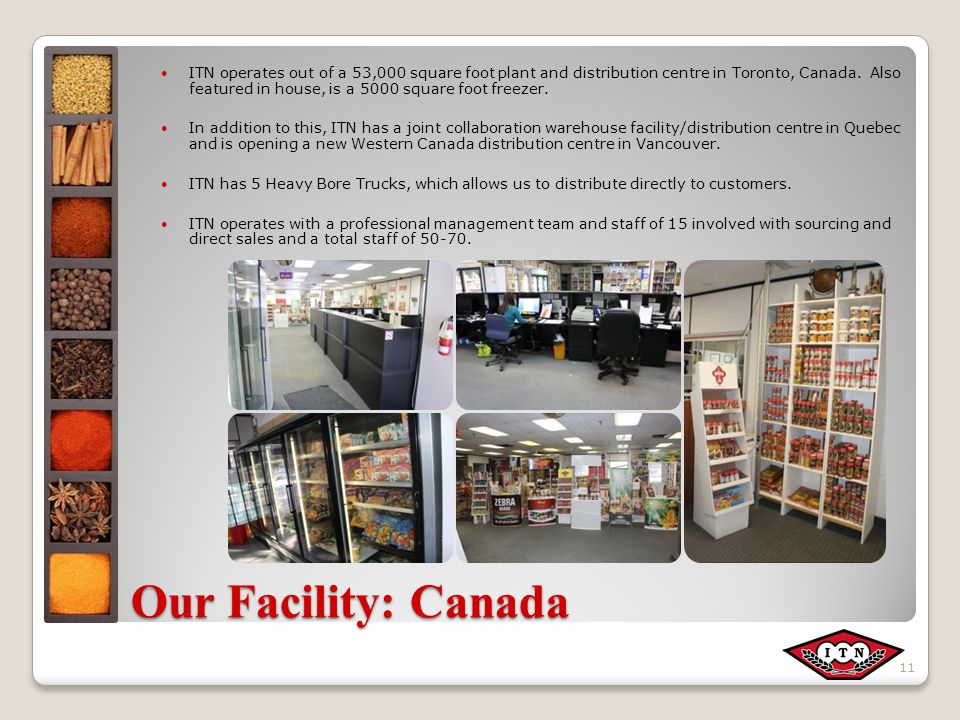 Our Facility: Canada ITN operates out of a 53,000 square foot plant and distribution centre in Toronto, Canada.