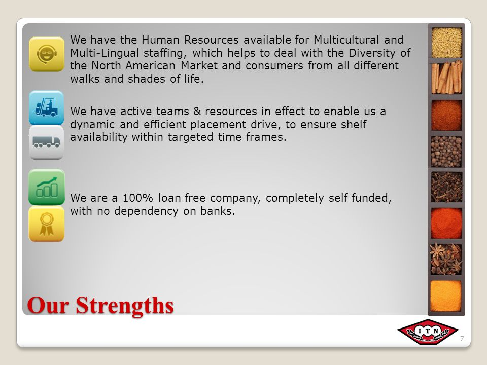 Our Strengths We have the Human Resources available for Multicultural and Multi-Lingual staffing, which helps to deal with the Diversity of the North American Market and consumers from all different walks and shades of life.