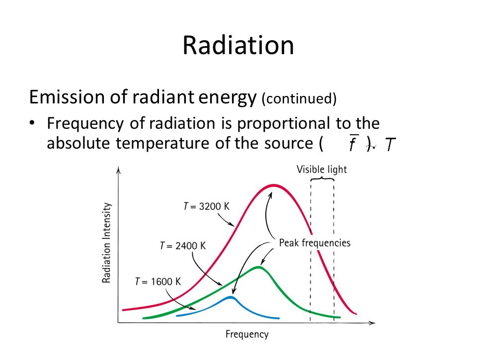 Radiation Emission of radiant energy (continued) Frequency of radiation is proportional to the absolute temperature of the source ( ).
