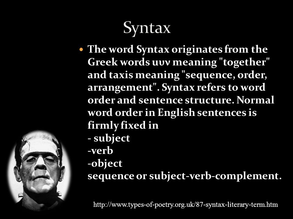 The word Syntax originates from the Greek words uυν meaning