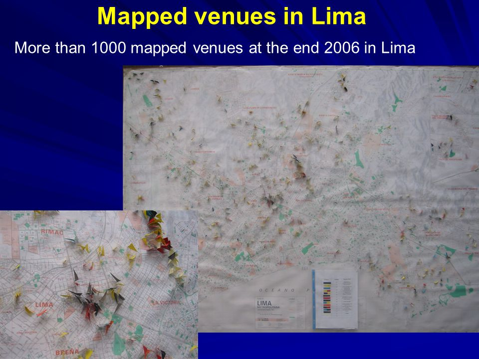 Mapped venues in Lima More than 1000 mapped venues at the end 2006 in Lima