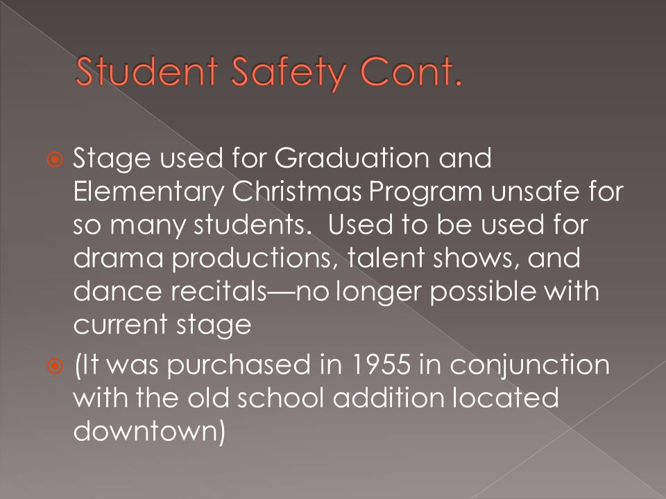  Stage used for Graduation and Elementary Christmas Program unsafe for so many students.
