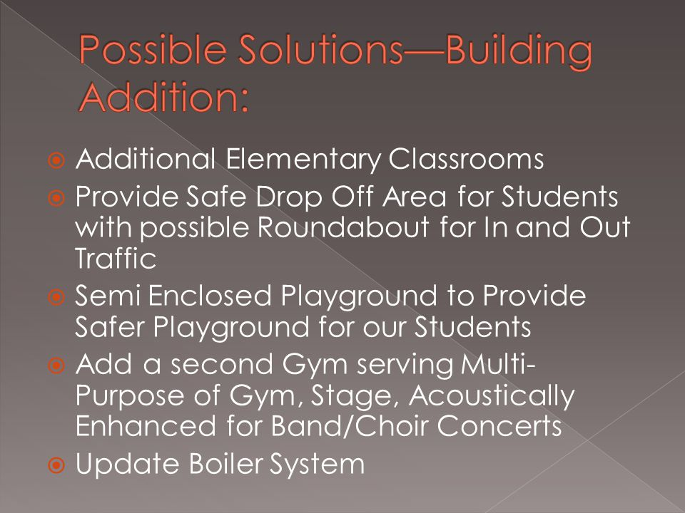  Additional Elementary Classrooms  Provide Safe Drop Off Area for Students with possible Roundabout for In and Out Traffic  Semi Enclosed Playground to Provide Safer Playground for our Students  Add a second Gym serving Multi- Purpose of Gym, Stage, Acoustically Enhanced for Band/Choir Concerts  Update Boiler System