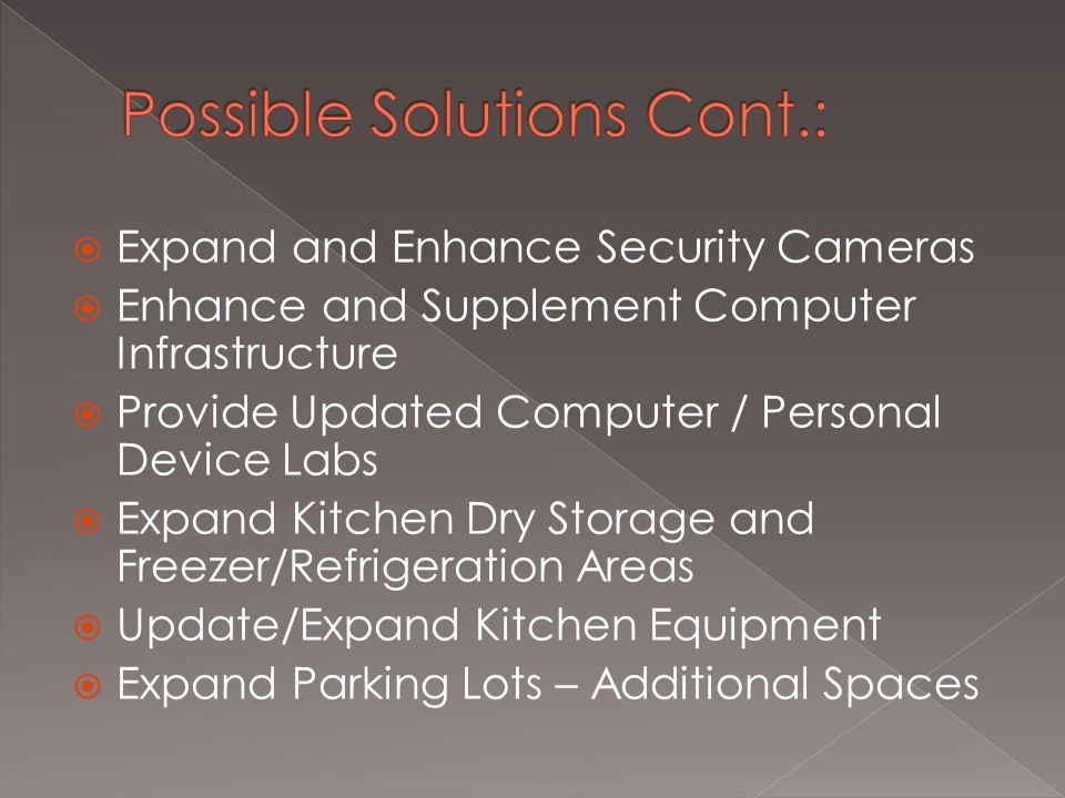  Expand and Enhance Security Cameras  Enhance and Supplement Computer Infrastructure  Provide Updated Computer / Personal Device Labs  Expand Kitchen Dry Storage and Freezer/Refrigeration Areas  Update/Expand Kitchen Equipment  Expand Parking Lots – Additional Spaces