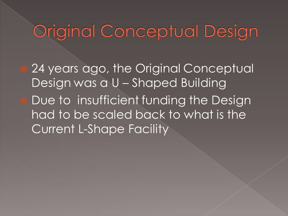  24 years ago, the Original Conceptual Design was a U – Shaped Building  Due to insufficient funding the Design had to be scaled back to what is the Current L-Shape Facility
