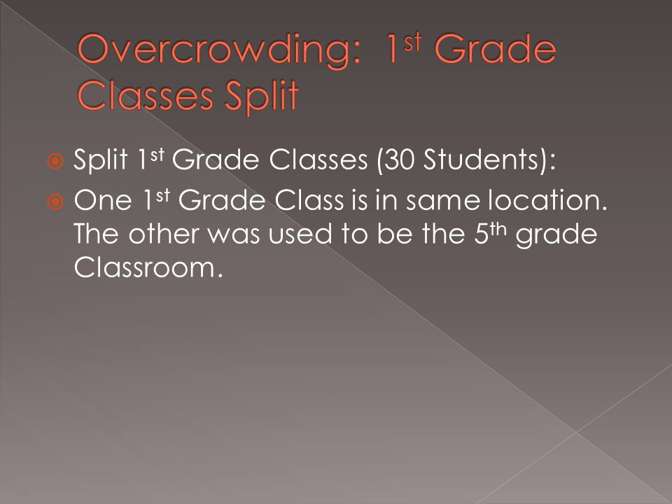  Split 1 st Grade Classes (30 Students):  One 1 st Grade Class is in same location.