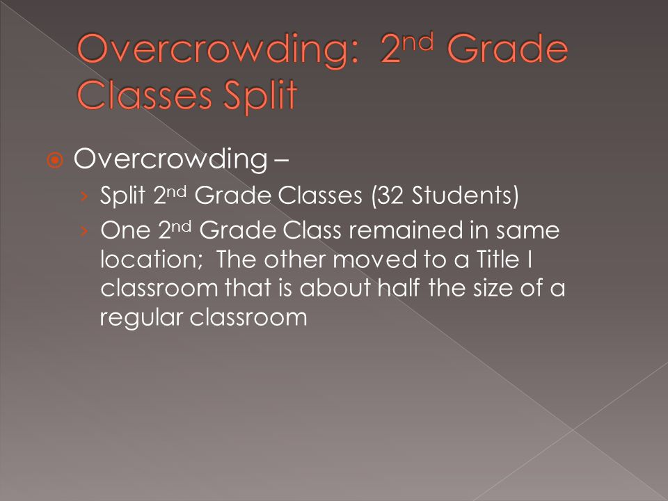 Overcrowding – › Split 2 nd Grade Classes (32 Students) › One 2 nd Grade Class remained in same location; The other moved to a Title I classroom that is about half the size of a regular classroom
