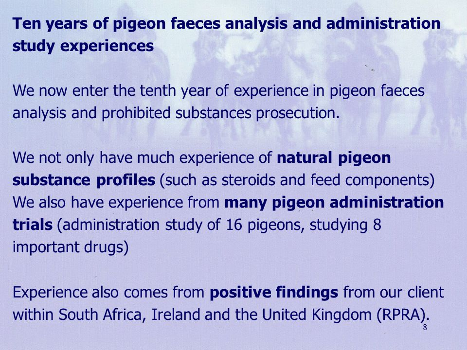 8 Ten years of pigeon faeces analysis and administration study experiences We now enter the tenth year of experience in pigeon faeces analysis and pro