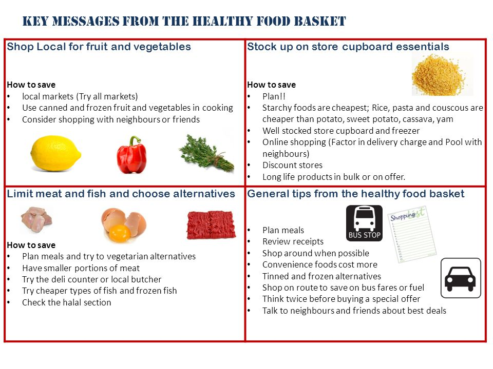 Shop Local for fruit and vegetables How to save local markets (Try all markets) Use canned and frozen fruit and vegetables in cooking Consider shopping with neighbours or friends Stock up on store cupboard essentials How to save Plan!.