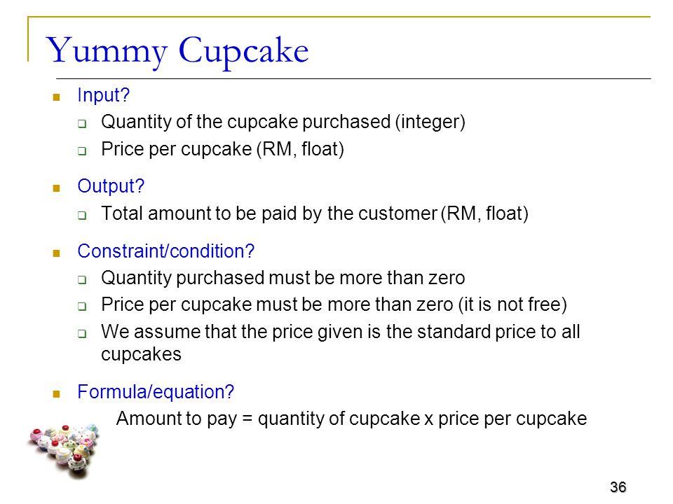 36 Yummy Cupcake Input.