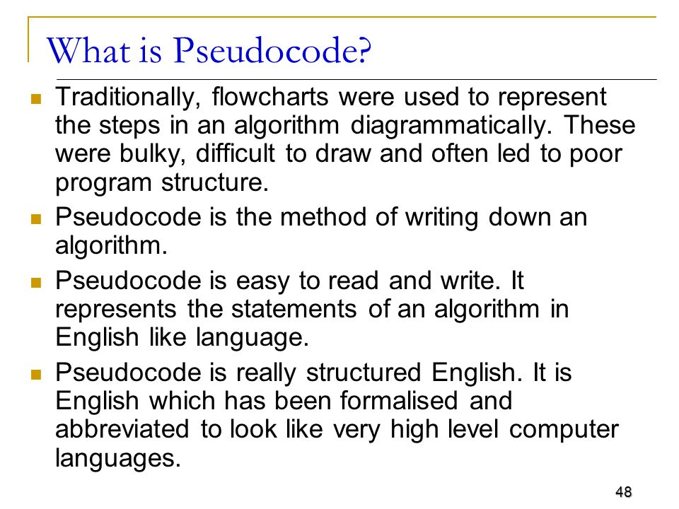 48 What is Pseudocode.
