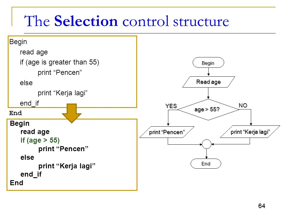 64 The Selection control structure Begin read age if (age is greater than 55) print Pencen else print Kerja lagi end_if End Begin Read age End age > 55.