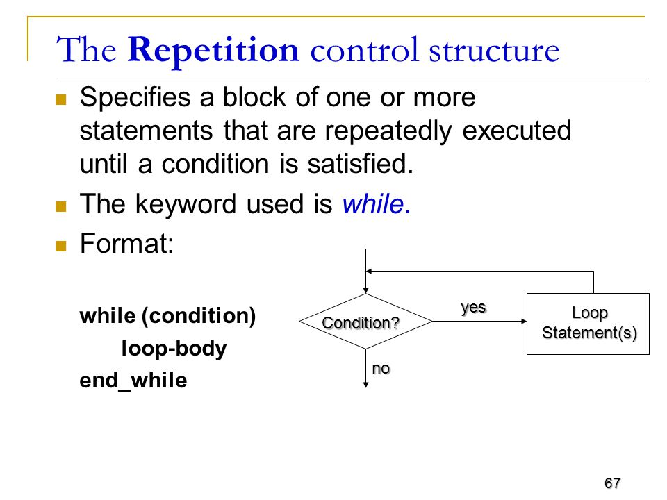 67 The Repetition control structure Specifies a block of one or more statements that are repeatedly executed until a condition is satisfied.