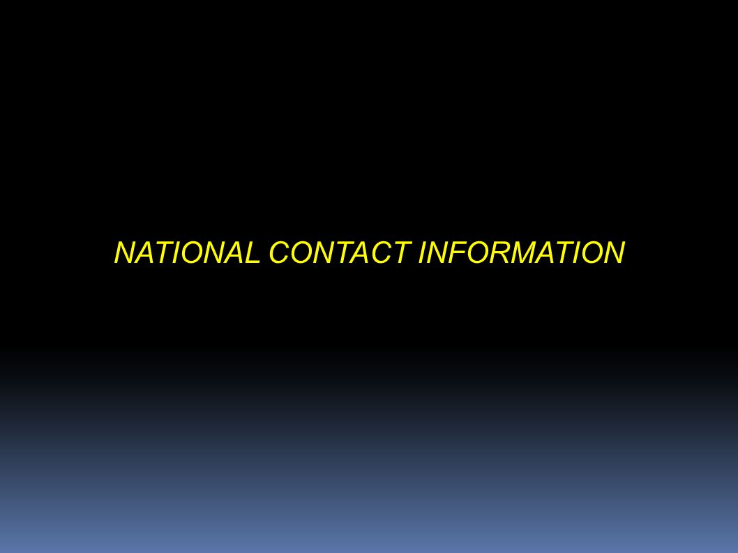 NATIONAL CONTACT INFORMATION