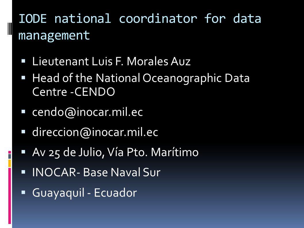 IODE national coordinator for data management LLieutenant Luis F.