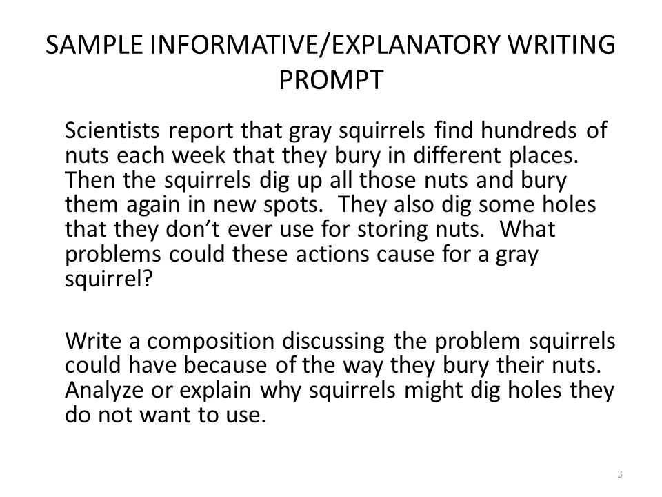 3 SAMPLE INFORMATIVE/EXPLANATORY WRITING PROMPT Scientists report that gray squirrels find hundreds of nuts each week that they bury in different plac