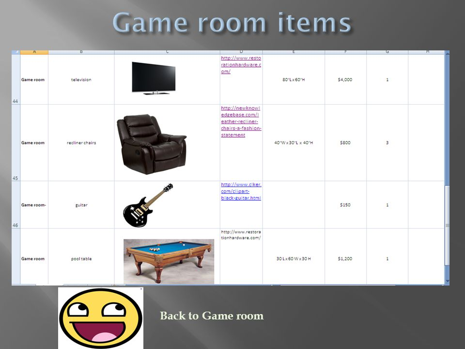 Back to Game room