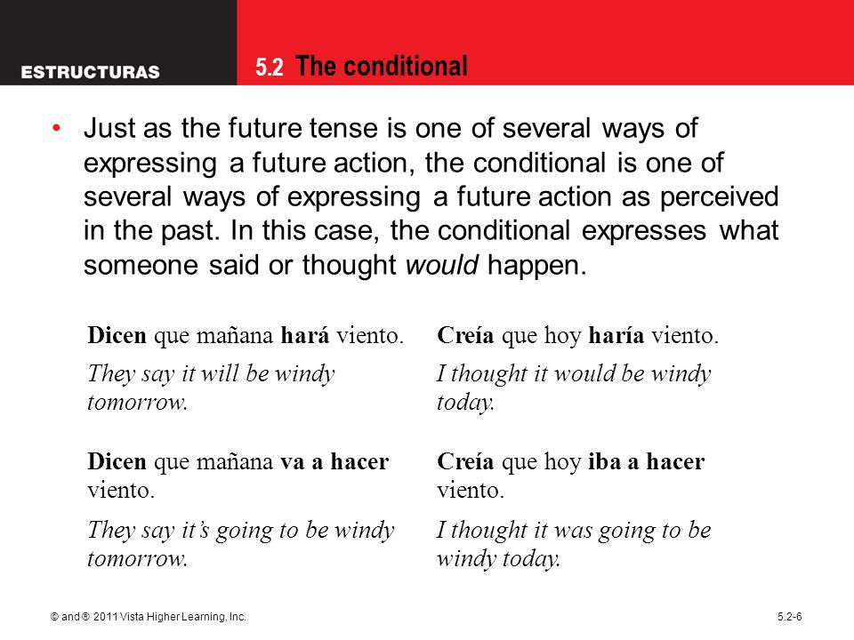5.2 The conditional © and ® 2011 Vista Higher Learning, Inc.5.2-6 Just as the future tense is one of several ways of expressing a future action, the c