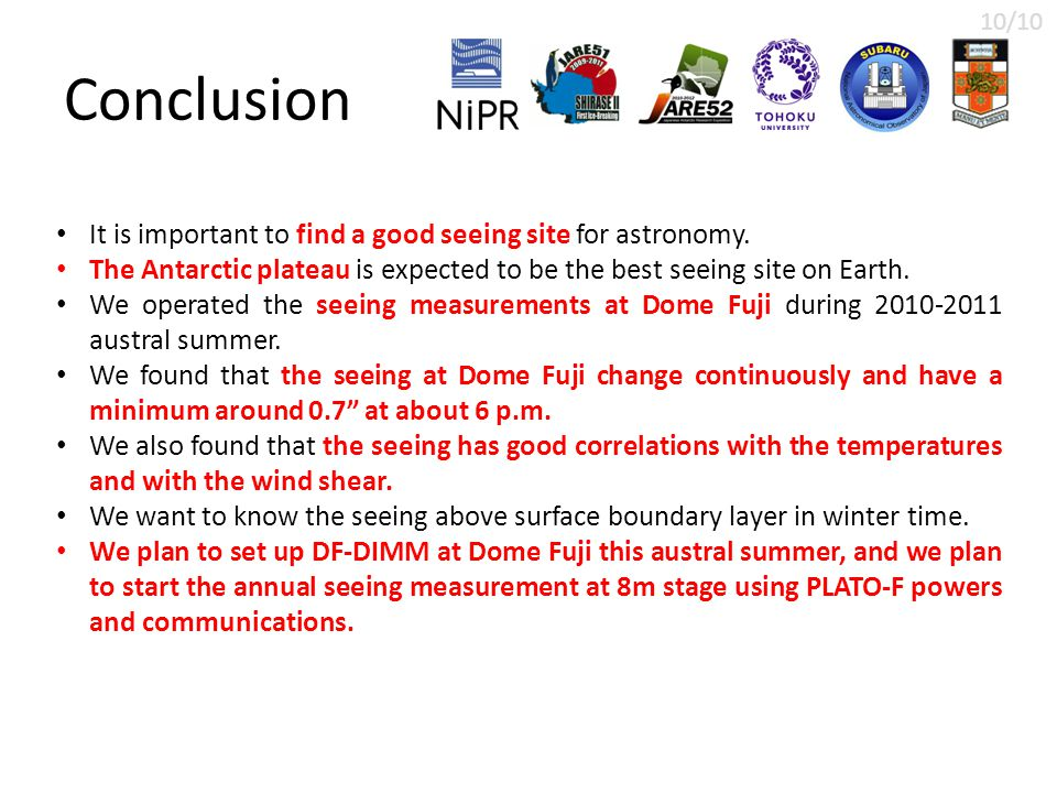 Conclusion It is important to find a good seeing site for astronomy.