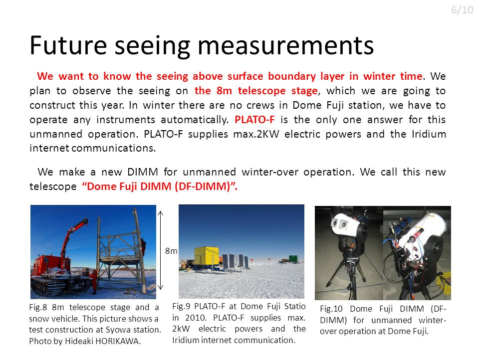 Future seeing measurements We want to know the seeing above surface boundary layer in winter time.