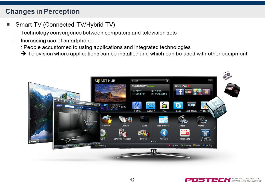 12 Changes in Perception ■Smart TV (Connected TV/Hybrid TV) –Technology convergence between computers and television sets –Increasing use of smartphone : People accustomed to using applications and integrated technologies  Television where applications can be installed and which can be used with other equipment