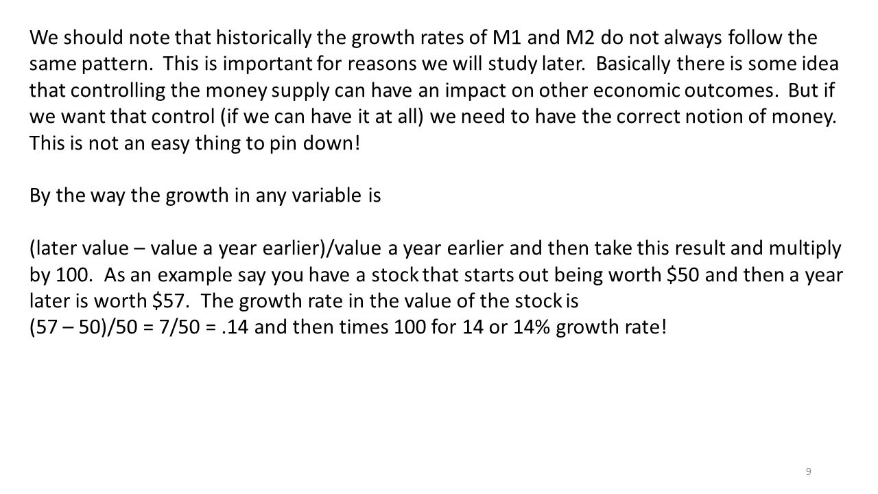 9 We should note that historically the growth rates of M1 and M2 do not always follow the same pattern. This is important for reasons we will study la