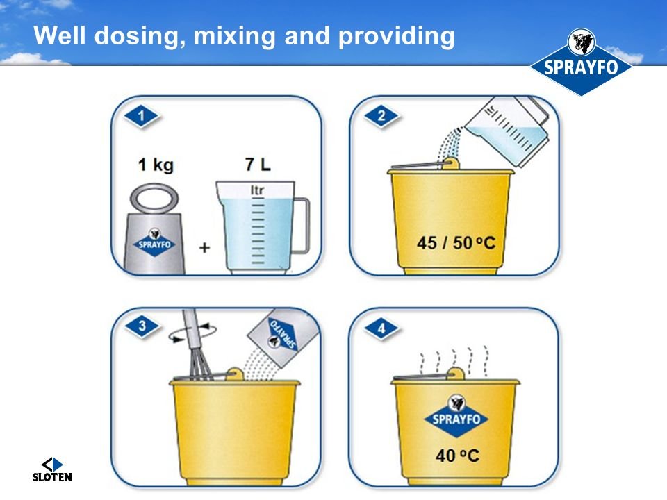 Controlled feeding by bucket Controlled feeding: milk supplied twice a day Advantages − Small groups (max 6 calves/group) − Good monitoring − Simple system − Low investment Disadvantages − Cleaning equipment (buckets, mixing equipment) − More labor − Mixing ratio less consistent − Different drinking temperatures