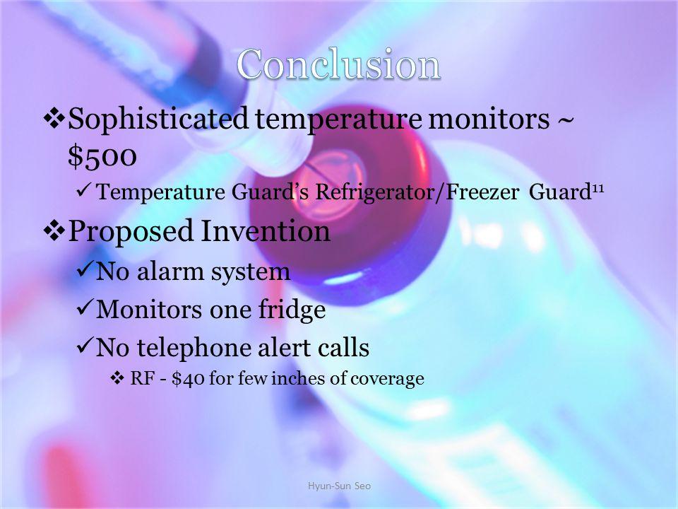  Sophisticated temperature monitors ~ $500 Temperature Guard's Refrigerator/Freezer Guard 11  Proposed Invention No alarm system Monitors one fridge No telephone alert calls  RF - $40 for few inches of coverage Hyun-Sun Seo