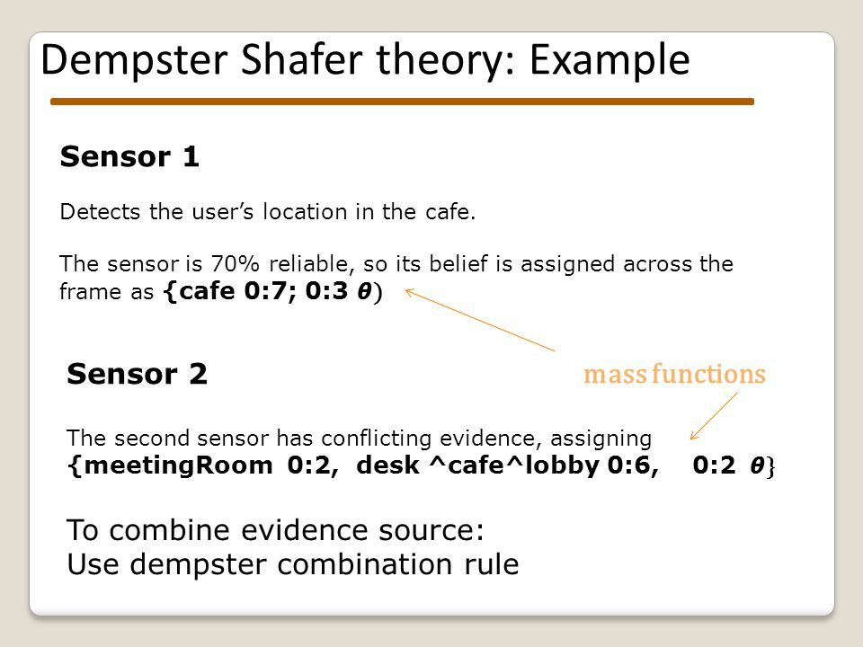 Dempster Shafer theory: Example Sensor 1 Detects the user's location in the cafe.
