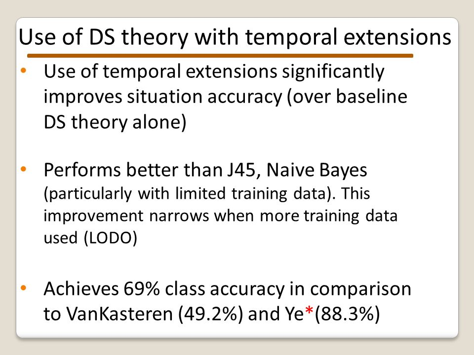 Use of DS theory with temporal extensions Use of temporal extensions significantly improves situation accuracy (over baseline DS theory alone) Performs better than J45, Naive Bayes (particularly with limited training data).