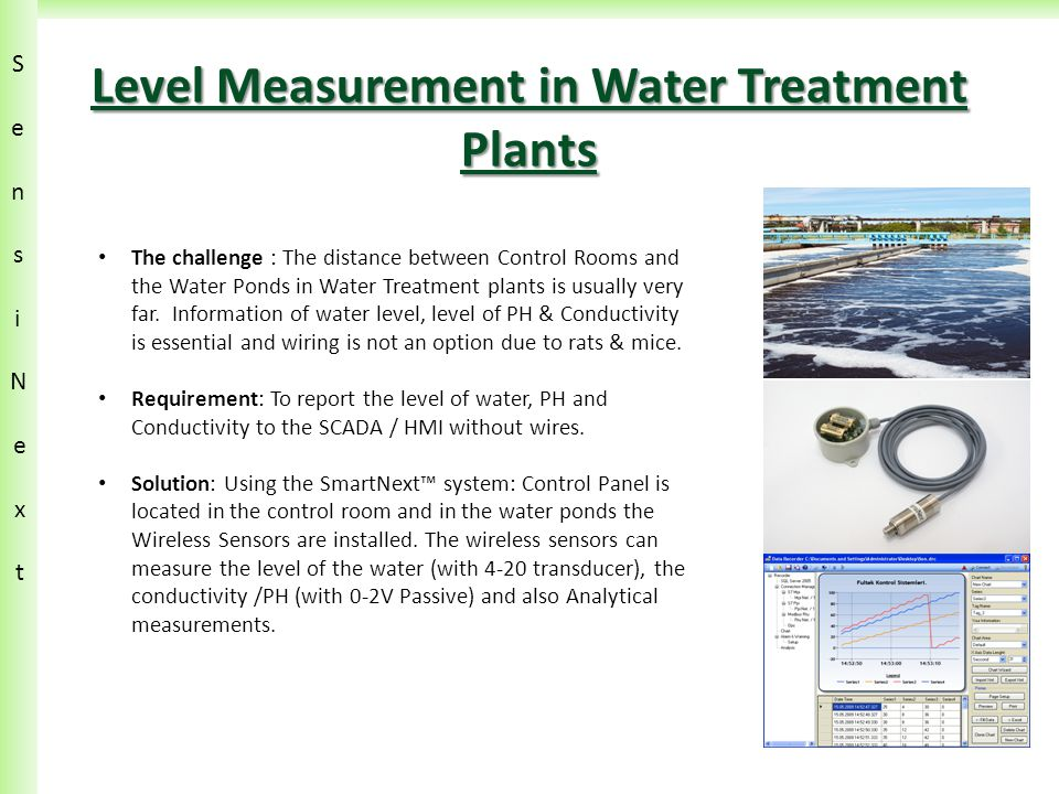 SensiN ext SensiN ext Level Measurement in Water Treatment Plants The challenge : The distance between Control Rooms and the Water Ponds in Water Treatment plants is usually very far.