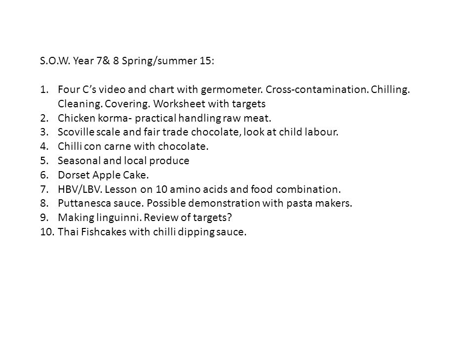 S.O.W. Year 7& 8 Spring/summer 15: 1.Four C's video and chart with germometer.