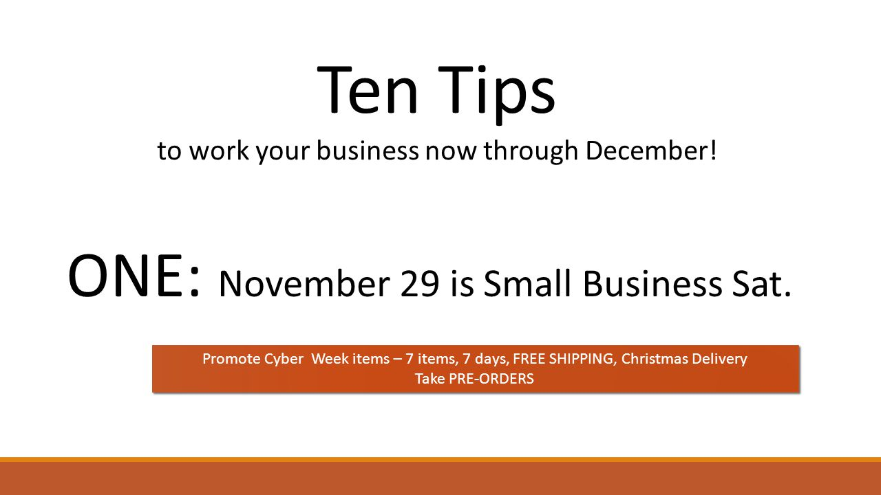 Ten Tips to work your business now through December! ONE: November 29 is Small Business Sat. Promote Cyber Week items – 7 items, 7 days, FREE SHIPPING