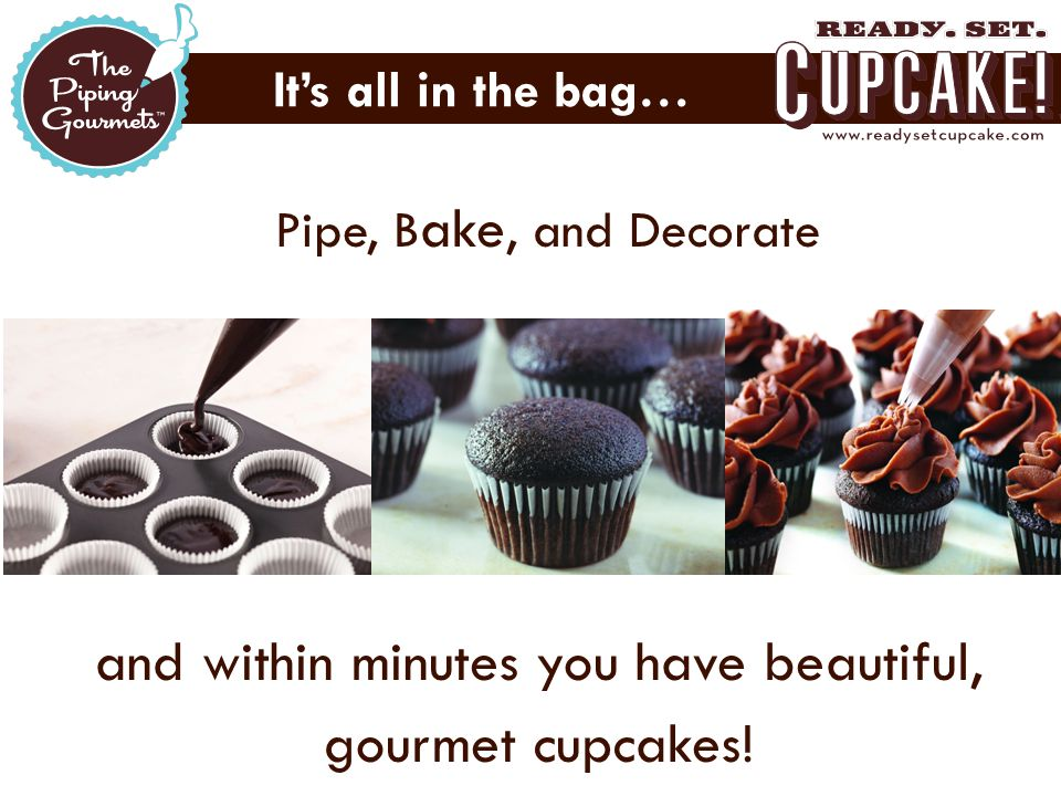 It's all in the bag… and within minutes you have beautiful, gourmet cupcakes! Pipe, B ake, and Decorate