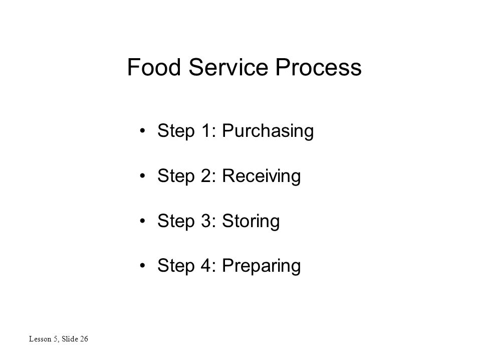 Food Service Process Lesson 5, Slide 26 Step 1: Purchasing Step 2: Receiving Step 3: Storing Step 4: Preparing