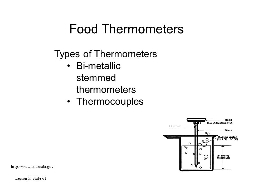Food Thermometers Lesson 5, Slide 61 http://www.fsis.usda.gov Types of Thermometers Bi-metallic stemmed thermometers Thermocouples Dimple