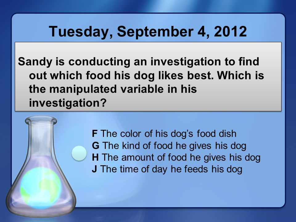 Tuesday, September 4, 2012 Sandy is conducting an investigation to find out which food his dog likes best.